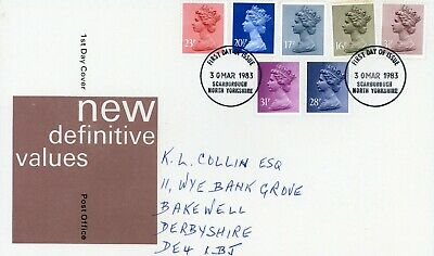 Gb 1983 Royal Mail First Day Cover. Definitive Set Scarborough Cancel (Fdc167)