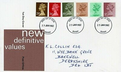 Gb 1982 Royal Mail First Day Cover. Definitive Set Derby Cancellation (Fdc168)