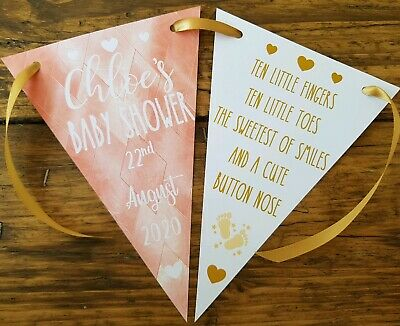 Personalised Baby Shower Party Banner Bunting Decoration GOLD & ROSE GOLD