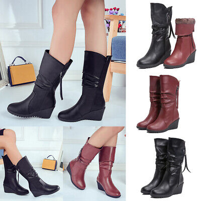 Womens PU Wedge Heel Mid Calf Boots Casual Winter Warm Shoes With Fur Lined Size