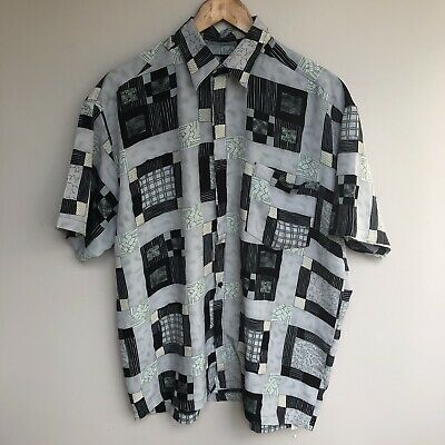 Mens Vintage Graphic Print Button Down Shirt Australian Made 'Postcard'  Size L