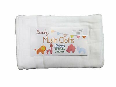 12 Pack of Muslin Burp Cloths/Squares 100% Cotton - White - 70x70cm