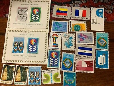 Collection of 33 Different Mint United Nations Stamps MNH 2 photos