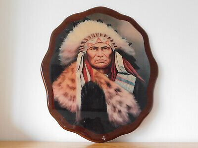 c.20th - Vintage Native American Wooden Lacquered Large Wall Plaque