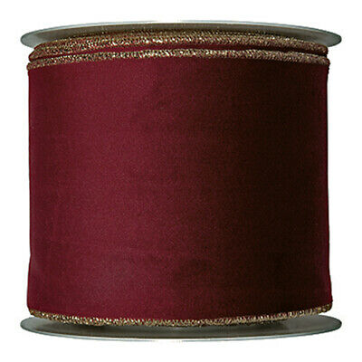 Burgundy Red Velvet fabric ribbon 100mm Wide on 8m Roll Wired edge Gold Trim