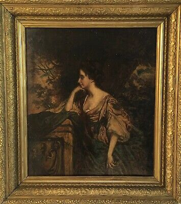Antique 19th C Portrait Of A Lady Before A Classical Landscape Oil Painting