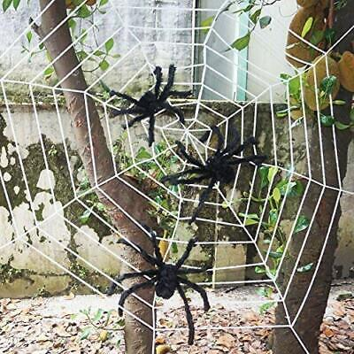 Three Realistic Hairy Spiders Giant Halloween Spider Web Decorations Props