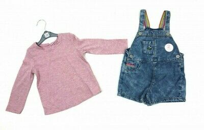 New Baby Girls Denim Dungarees & Top Set Long Sleeve 12-18-24-2-3-4-5-6 Ex RRP26