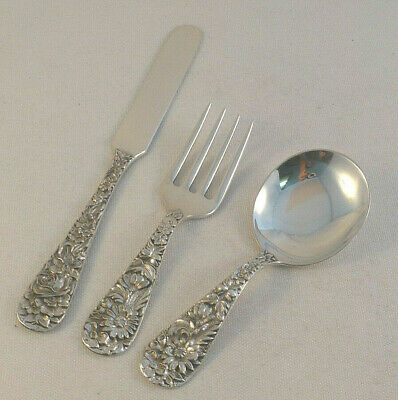 Repousse by Kirk Sterling 3 Piece Baby Set Fork, Spoon, & Knife