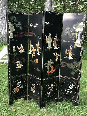 Antique Vintage Chinese Stone Hardstone Canton Lacquer Floor Screen