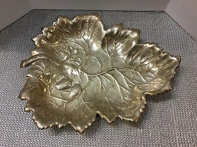 Large Antique Footed Sterling Silver Leaf Dish Marked W - 10.71 OZ.