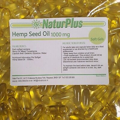 Hemp Seed Oil Capsules 1000mg x 365  - Cold Pressed by NaturPlus