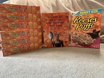 travis scott reeses puffs cereal box **RARE**