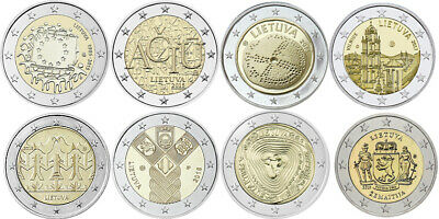 All UNC NEW Euro Coins Lithuania Litauen Lietuva full set 8 + 4 Commemorative