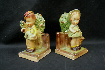 Pair 1930s 1940s bookends girl and boy figures vintage retro plaster kids room?