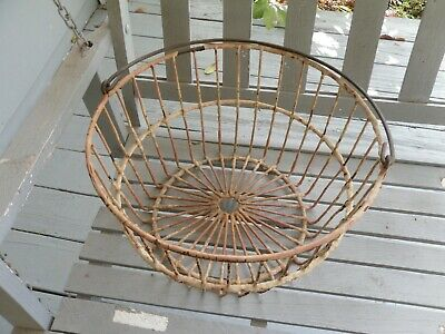 Old Large  Wire Veg.or Egg Basket  Farmhouse Shabby Chic Country Decor