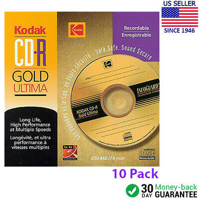 Kodak CD-R Gold Ultima 1x-8x 650MB 74min LONG LIFE Recordable Pack of 10
