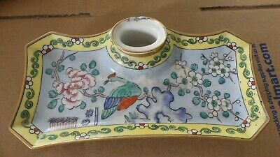 Antique French Porcelain Pottery Signed Aladin France Ink Well and Pen Tray