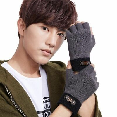 Fashionable Elastic Knitted Gloves For Men Acrylic Cotton Solid Hand-Wear Mitten