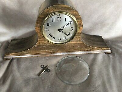 Vintage New Haven Tambour Mantle Clock No 80 with Key