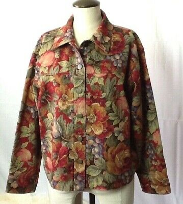 Vintage 90s Womens M Jacket Linen Cotton Floral Denim Red Green Fall Christmas