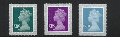 M19L High value security machin definitives - £2.00, £3.00 and £5.00 Singles