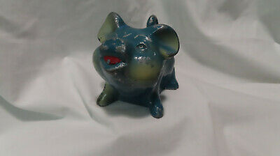 Vintage blue metal piggy bank First National Bank of Woodstock, Ill