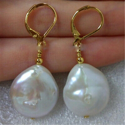 14-15mm White Baroque Coin Pearl Earrings 18K hook Cultured Luxury hand-made