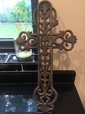 Antique Architectural Salvage Cast Iron Wall Hanging Cross/crusifix