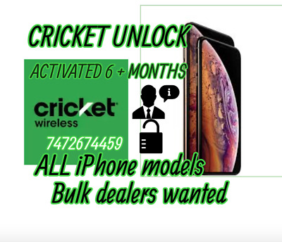 Cricket iPhone All Clean/Paid devices 6 months Activation Factory Unlock Service