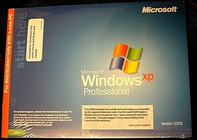 Sealed Microsoft Windows XP Professional Version 2002 - No Product Key or COA
