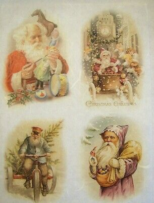 Rice Paper Decoupage Scrapbook Craft Sheet Christmas Santa Claus Child 713