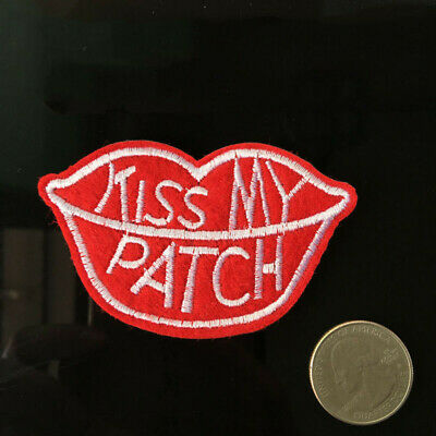 Applique on Patch Kiss Red Embroidery Edgy Iron Funny DIY Lips Sewing My Comedy