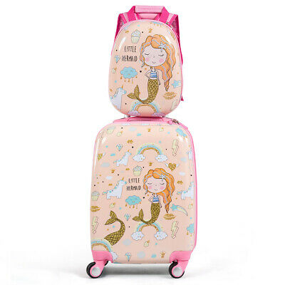 2PC Kids Luggage Set 18'' Rolling Suitcase &  12'' Backpack Travel ABS Mermaid