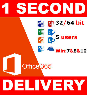 INSTANT Microsoft Office 365 / 5 Users (PCs, MACs, Tablets ,Phone)