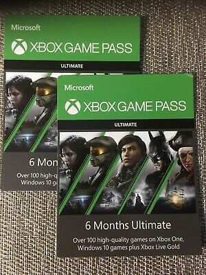 Xbox game pass (2) 6 month Passes 1 Year Microsoft Xbox Live