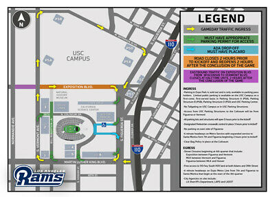 1 La Rams Parking Pass 9/29 Flower Street Structure  Parking Pass