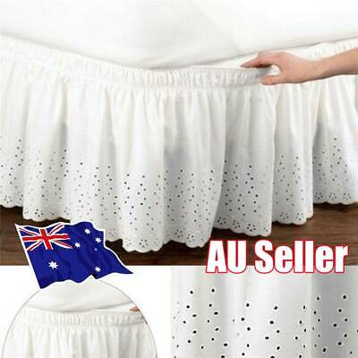 Elastic Embroidered Bed Ruffle Skirt /Valance Easy Fit Wrap Around Soft Queen OT