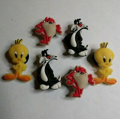 6 TAZ TWEETY SYLVESTER Looney Tune SHOE CHARM LOT FOR CROC SHOE JIBBITZ BRACELET