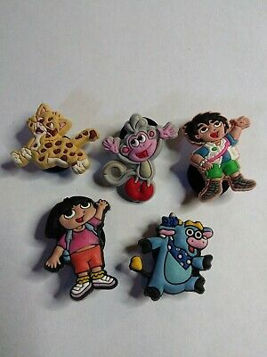 Dora Diego Boots Bennie Jaguar 5 Pc Lot Shoe Charms For Jibbitz Croc Shoe