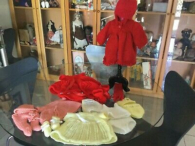 Lot of assorted vintage knitted  doll clothing well made good condition  No 28