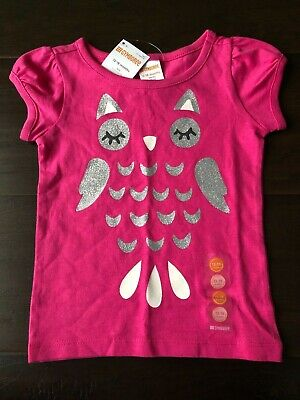 Gymboree 2T 3T Bright Pink Owl Tee Shirt Top Silver Glitter Short Sleeve Girls