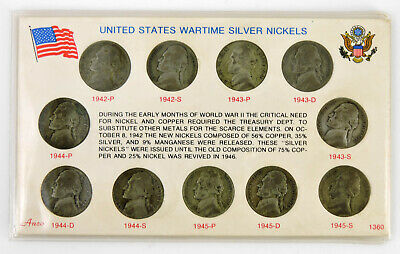 Wartime Silver Nickels 1942-1945 Set of 11 Jefferson 35% Silver Coins Anco