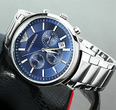 New Genuine Emporio Armani Mens Ar2448 Watch Blue Dial Stainless Steel
