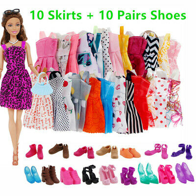 Skirts Dress High Heel Shoes Sandals Kit Clothes Accessories For Barbie Doll