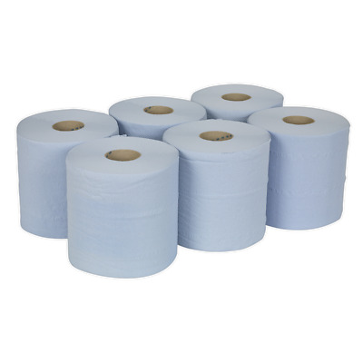 BLU150 Sealey Paper Roll Blue 2-Ply Embossed 150mtr Pack of 6 [Cleaning Aids]