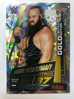 Topps WWE Slam Attax Universe Braun Strowman Gold Limited Edition Card