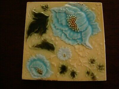 Art Nouveau raised majolica floral and leaf tile   20/220