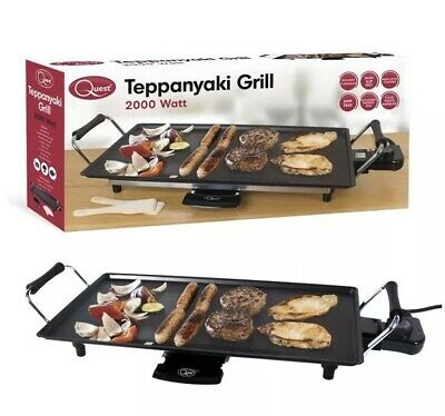 Quest 35490 Large Teppanyaki Grill Electric BBQ Table Top Grill Cooking Plate