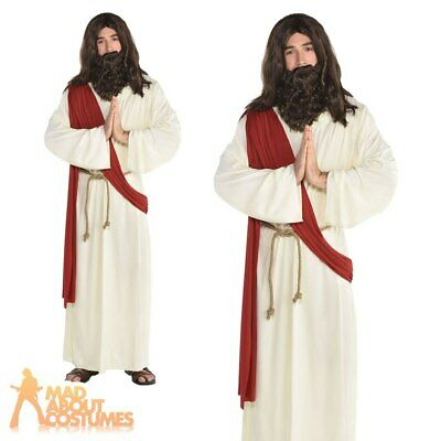 Adult Mens Jesus Costume Religious Toga Christmas Nativity Fancy Dress Outfit